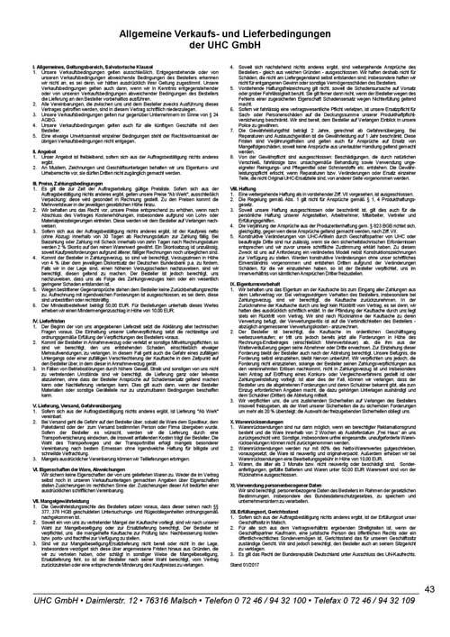 Diverse Dokumente von UHC GmbH, AGBs, SEPA-Lastschrift-Mandat