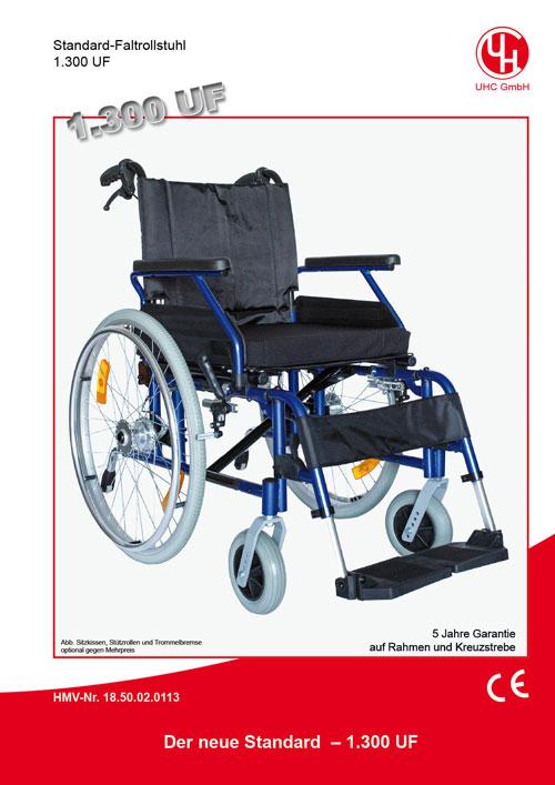Standard-Stahl-Faltrollstuhl 1.300 UF