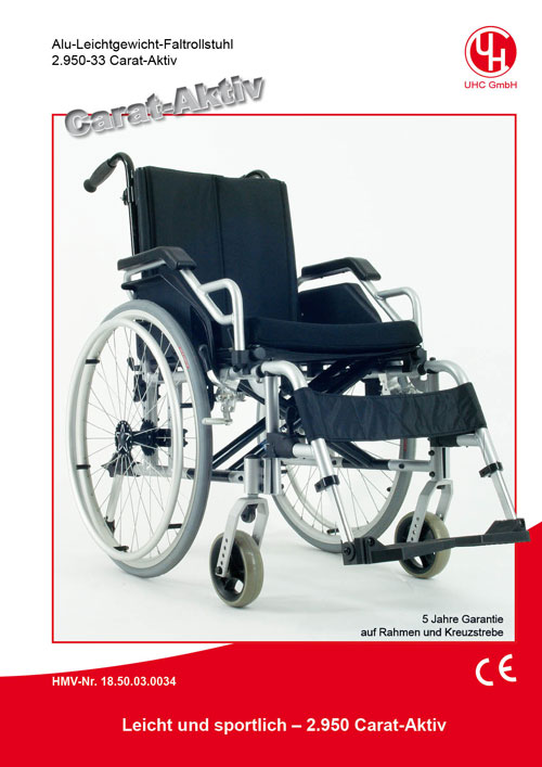 Alu-Leichtgewicht-Aktiv-Faltrollstuhl Modell 2.950-33 Carat-Aktiv